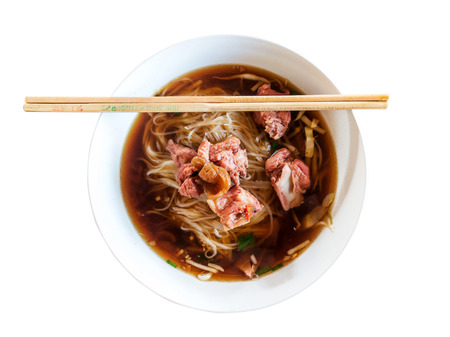 thai noodle soup: Thai Noodle Soup with Meat with clipping path. Stock Photo