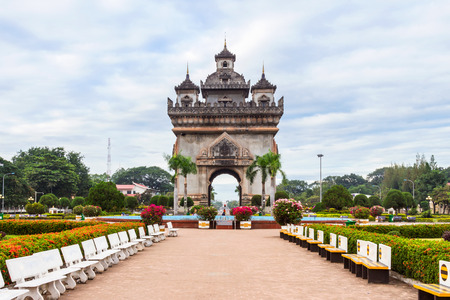 Laos, Vientiane - Patuxai Arch monument. photo