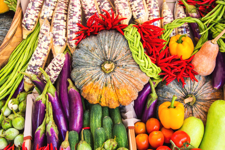 Close up of various colorful raw vegetables photo