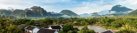 View for panorama in Vang Vieng, Laos. photo