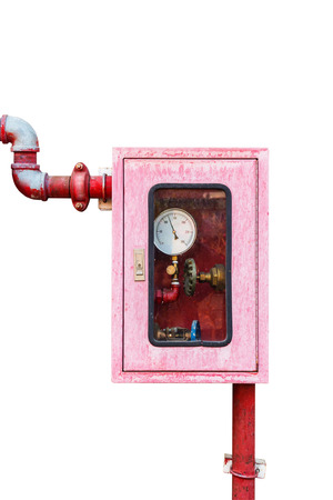 sprinkler alarm: Controller of water sprinkler and fire fighting system on isolated white background with clipping path.