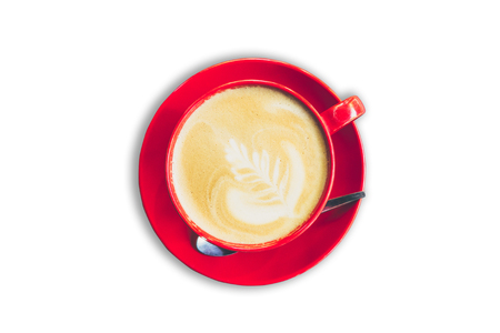 red cup and latte coffee on isolated white background with clipping path. Фото со стока