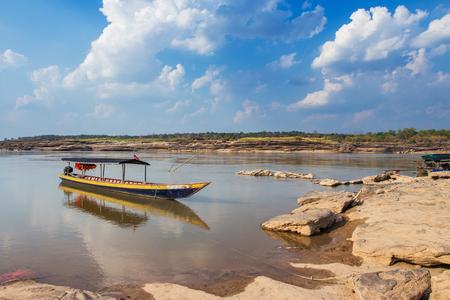 sam: Boat at Sam Phan Bok in Thailand Stock Photo