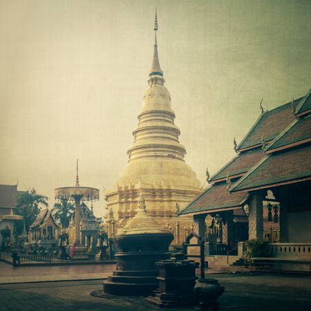 hariphunchai: Temple Phra That Hariphunchai in Lumphum, Province Thailand with vintage effect.
