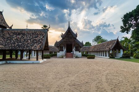 ton: Wat Ton Kain, Old wooden temple in Chiang Mai Thailand. Stock Photo