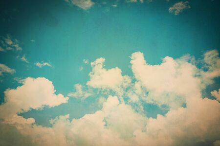 puffy: clouds and blue sky with vintage effect