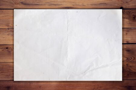 white poster: old paper on wood horizontal background and texture