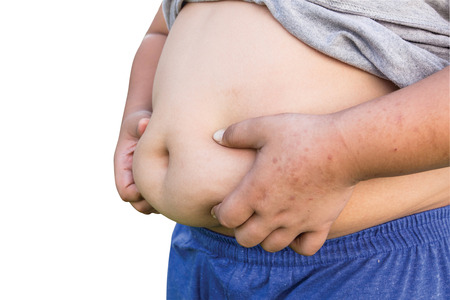 fatness: Boy fat and Unhealthy on isolated white with clipping path.