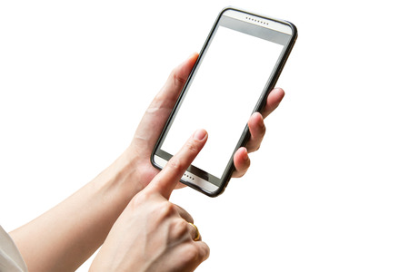 hand playing smartphone on isolated with clipping path.