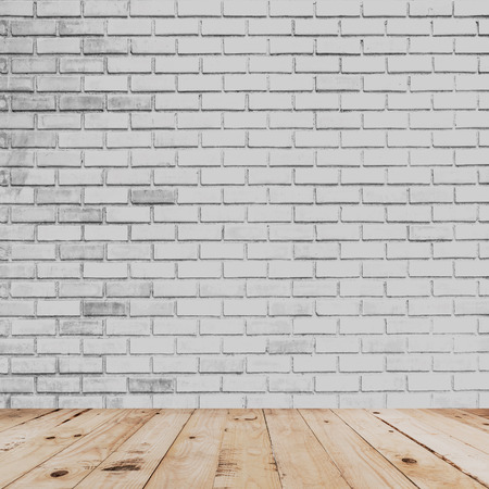 white wood floor: room interior and white brick wall with wood floor