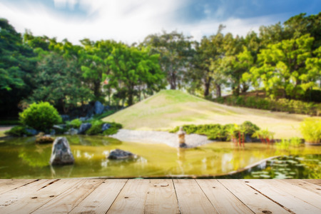 space wood: abstract blurred Pond and Water Landscape in Japanese Garden Stock Photo