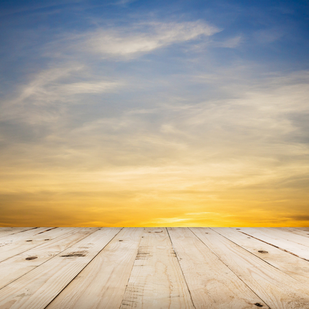 scene: wood floor and beautiful sunset with space Stock Photo