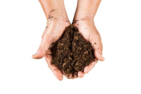 turba: close up de la mano de suelo de turba de musgo en aislados con saturaci�n camino.