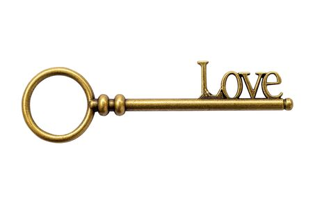 door lock love: Close up Key vintage and LOVE text Stock Photo