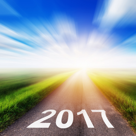 Empty asphalt road and New year 2017 concept. Stock Photo
