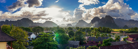 Landcape view panorama in Vang Vieng at Laos.
