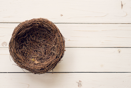 Top view blank nest wooden background with space.
