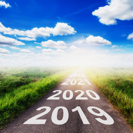Empty asphalt road and New year 2019 concept. Driving on an empty road to Goals 2019. Stock Photo