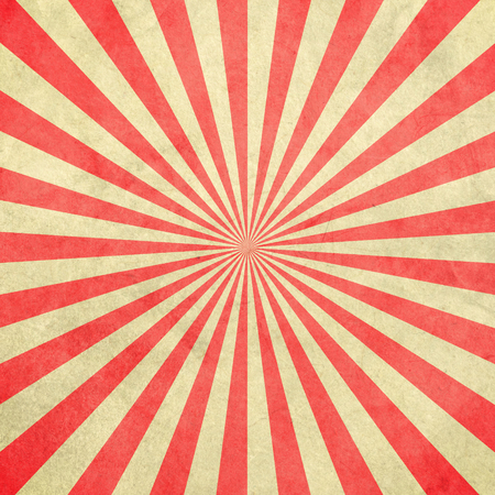 Red and white sunburst vintage and pattern background with space.