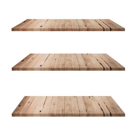 Mesa de 3 estantes de madera aislada sobre fondo blanco y montaje de exhibición para producto.