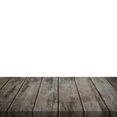 Empty wood table on isolate white background and display montage for product. Foto de archivo