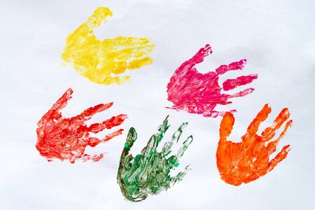 colorful hand print on white background