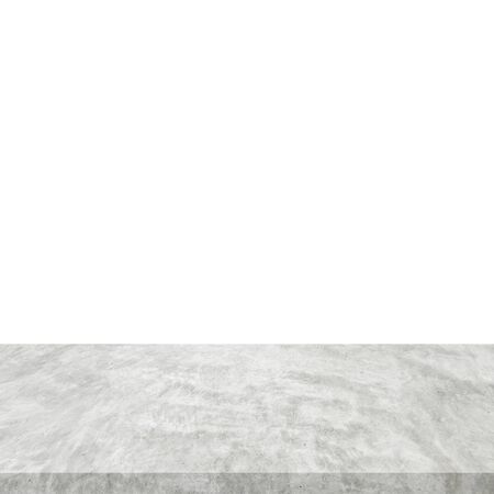 Empty cement table on isolated white background with copy space and display montage for product.