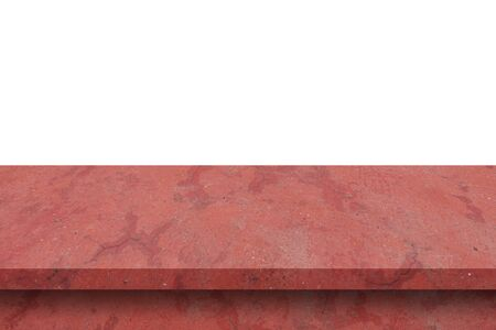 Empty red cement table on isolated white background with copy space and display montage for product.