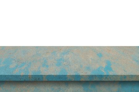 Empty blue cement table on isolated white background with copy space and display montage for product.