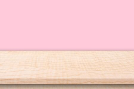 Empty wooden table and pink wall background texture, display montage with copy space. Фото со стока - 128413930