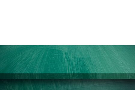 Empty green wood table on isolate white background and display montage with copy space for product.