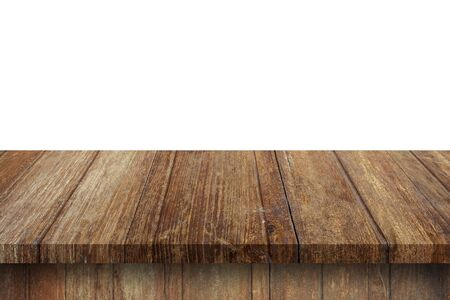 Empty wood table on isolate white background and display montage with copy space for product. Фото со стока - 128413956