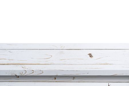 Empty white wood table on isolate white background and display montage with copy space for product.