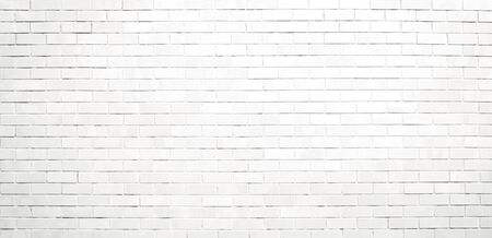 Panorama white brick wall texture and background