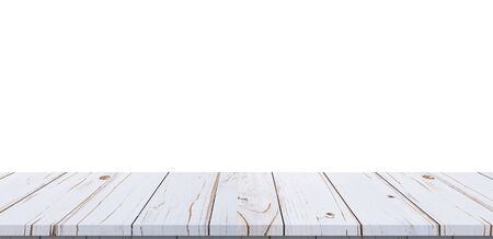 Empty white wood table on isolate white background and display montage with copy space for product template.