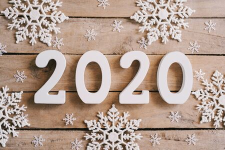 2020 New year concept on wood table
