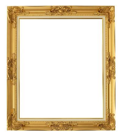 golden frame on isolated white background Foto de archivo