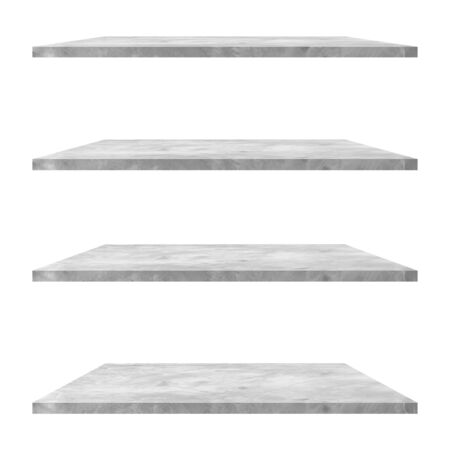 4 concrete shelves table isolated on white background and display montage for product. Foto de archivo
