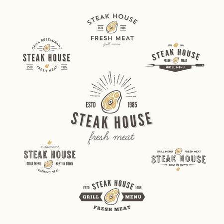 xilografia: Conjunto de etiquetas de la parrilla de carne, escudos y elementos de diseño
