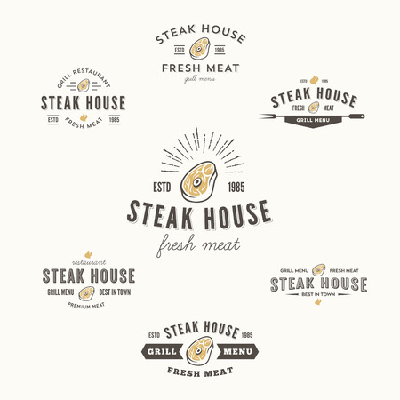 woodcut: Set of grill steak labels, badges and design elements