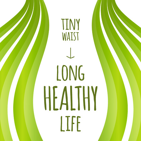 body curve: Creative template concept with text space for health message, female waist silhouette and natural green background