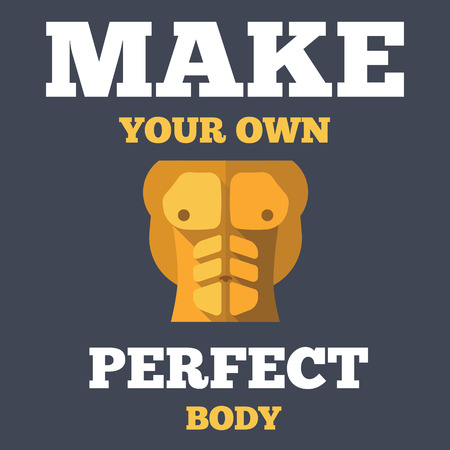 bronzed: Motivational creative unusual fitness poster with flat icon of tanned bodybuilder athletic torso abs, vector illustration