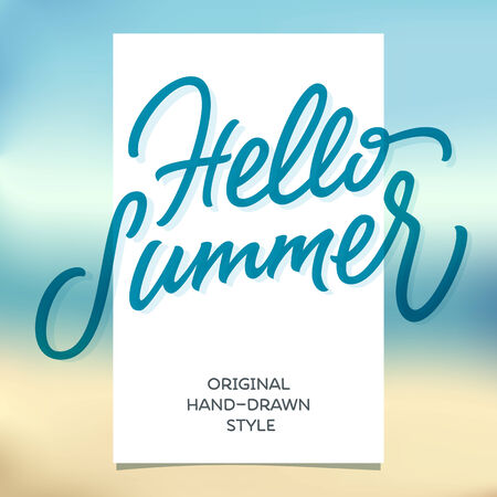 typography signature: HELLO SUMMER hand lettering handmade calligraphy template and summertime beach background