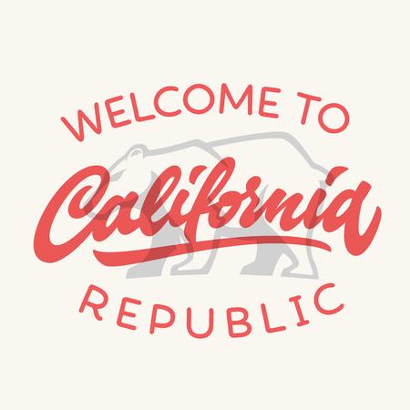 Vintage california republic calligraphic handwritten t-shirt apparel fashion design and bear, vector illustration Illustration