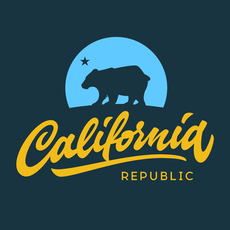 tee shirt: Vintage california republic calligraphic handwritten t-shirt apparel fashion design and bear Illustration