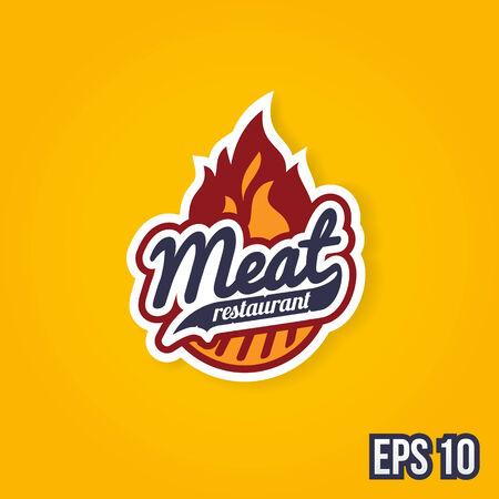 Retro barbecue grill label design concept Vector