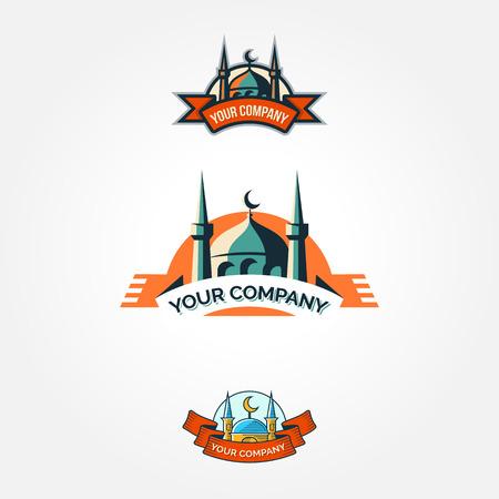 Set of vintage color mosque ramadan badges  Vector