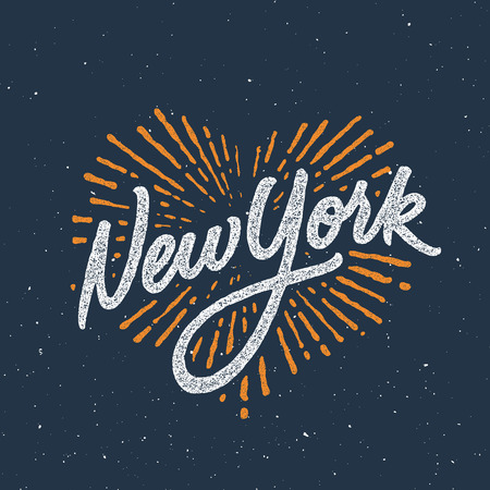 Vintage New York calligraphic handwritten t-shirt apparel fashion design print with distressed and textured look