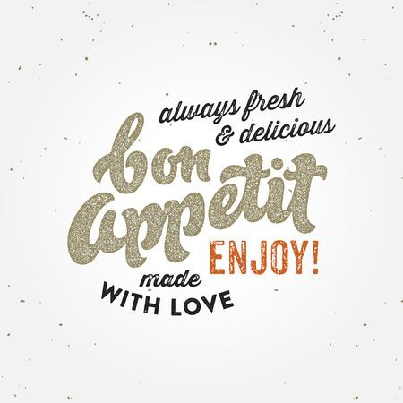 Bon appetit retro print poster badge typographic concept Illustration