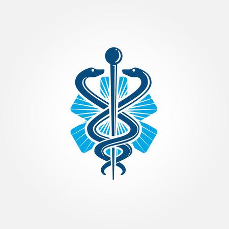 caduceo: Símbolo médico como la atención sanitaria y el icono de la medicina con las serpientes arrastrándose sobre un poste